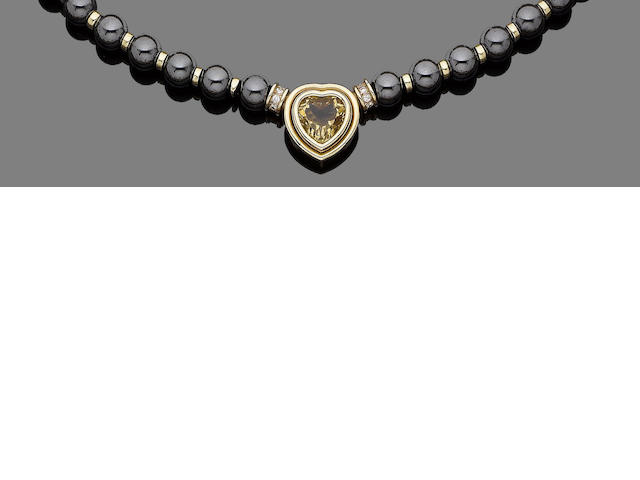 A citrine, hematite and diamond necklace