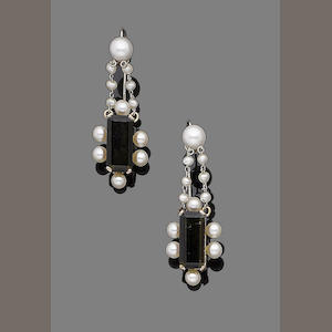 A pair of tourmaline and cultured pearl pendent earrings