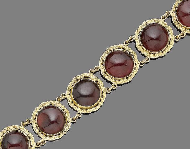 A garnet and paste bracelet