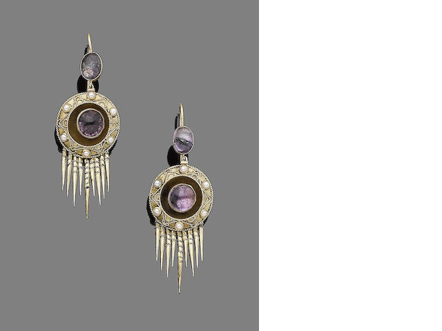 A pair of gem-set and seed pearl pendent earrings