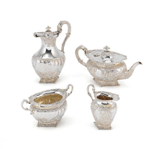 A silver four-piece tea set