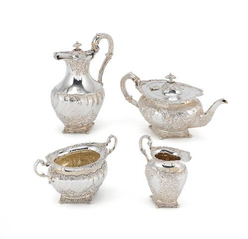 A silver four-piece tea set