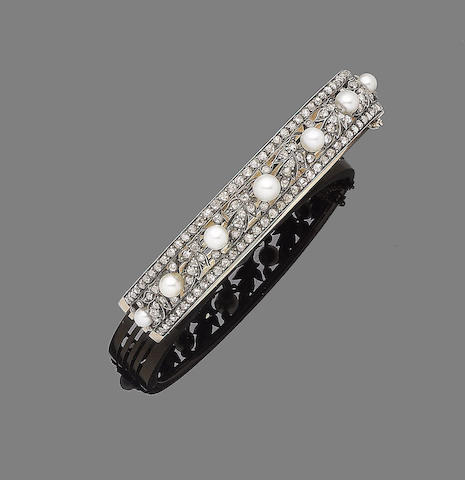 A pearl and diamond hinged bangle, by Vever,