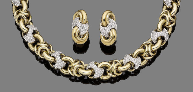 A diamond-set fancy-link necklace and earring suite (2)