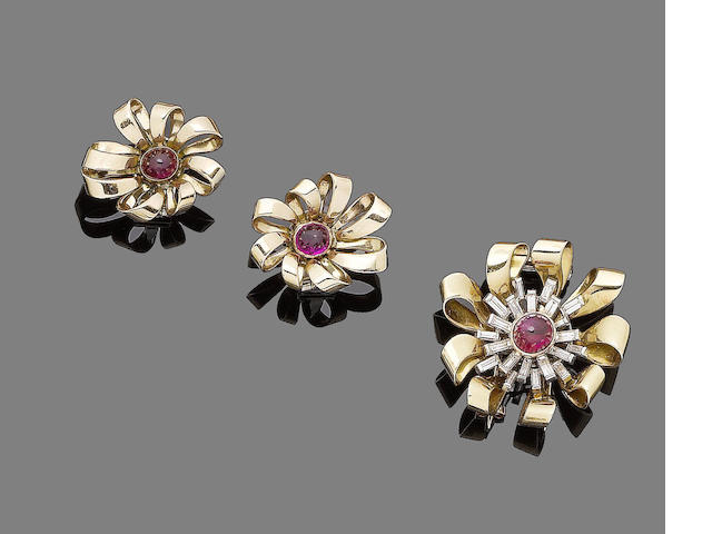 A pair of ruby earrings, by Chaumet and a ruby and diamond brooch  (2)