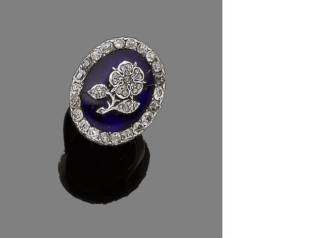 An enamel and diamond ring,