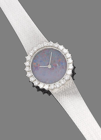 An opal and diamond wristwatch
