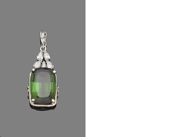A tourmaline and diamond pendant