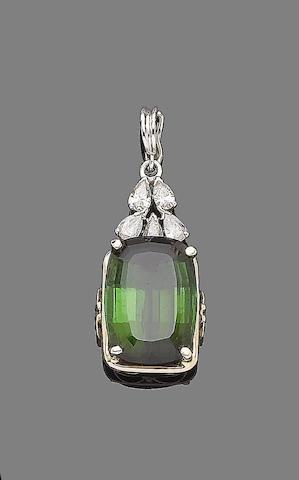 A tourmaline and diamond pendant
