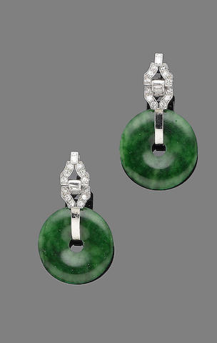 A pair of jade and diamond earrings