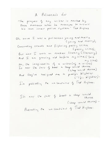 COPE, WENDY (b. 1945) AUTOGRAPH MANUSCRIPTS OF TWO POEMS, both signed