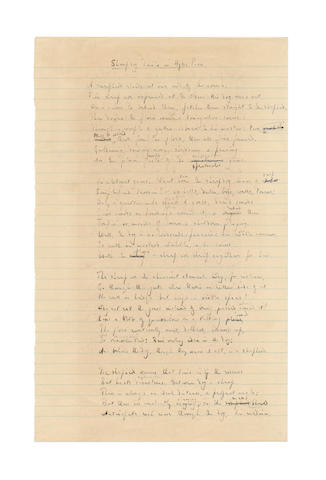 DAY-LEWIS, CECIL (1904-1972) AUTOGRAPH REVISED MANUSCRIPT, IN EFFECT A LATE DRAFT, OF HIS POEM 'SHEEPDOG TRIALS IN HYDE PARK', signed