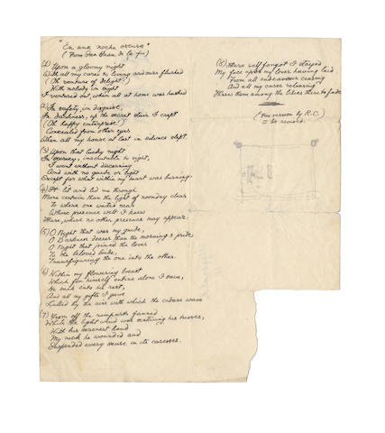 CAMPBELL, ROY (1901-1957, South African poet) AUTOGRAPH MANUSCRIPT OF HIS CELEBRATED TRANSLATION OF THE FIRST OF THE POEMS OF ST. JOHN OF THE CROSS 'EN UNA NOCHE OSCURA,' 1942