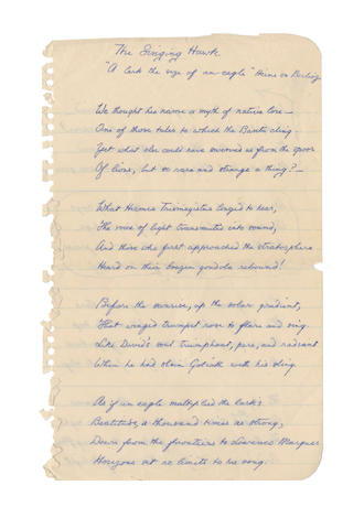 CAMPBELL, ROY (1901-1957, South African poet) AUTOGRAPH MANUSCRIPT OF HIS POEM 'THE SINGING HAWK', [1955]