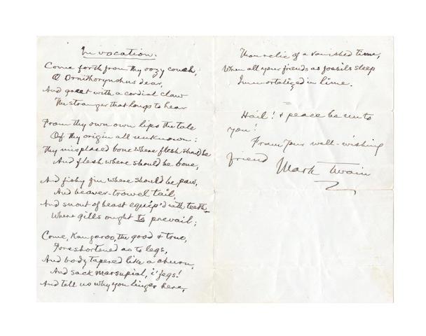 CLEMENS, SAMUEL LANGHORNE (1835-1910, 'Mark Twain', American author)