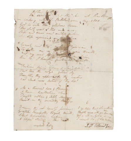 COLERIDGE, SAMUEL TAYLOR (1772-1834) AUTOGRAPH MANUSCRIPT OF HIS POEM ['ON REVISITING THE SEA-SHORE'], signed ('S.T. Coleridge'), 1801