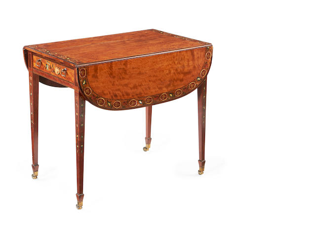 A George III satinwood and polychrome decorated Pembroke table