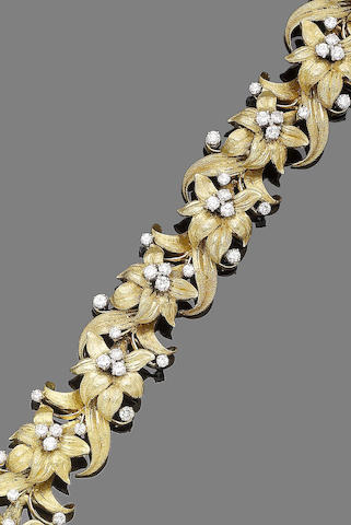 A diamond-set floral bracelet