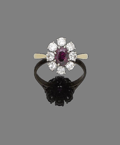A ruby and diamond cluster ring,