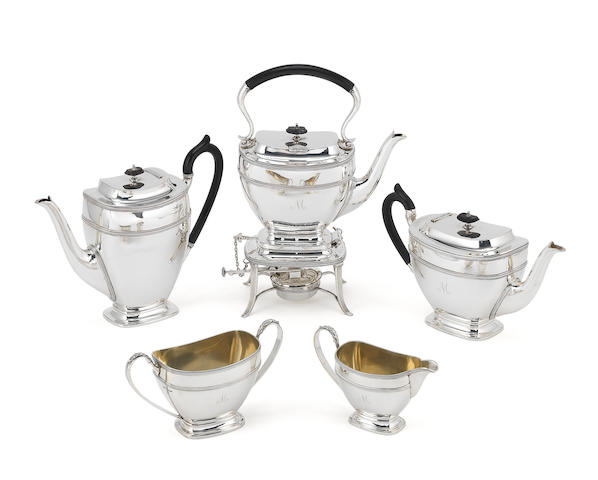 A silver five-piece tea and coffee service including kettle on stand by James Dixon & Son, Sheffield 1925 / 1926, kettle on stand 1920  (5)