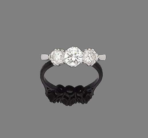 A diamond three-stone ring,