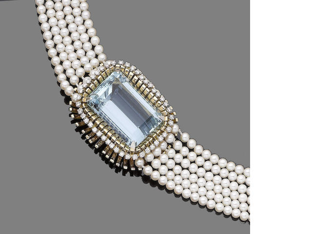 A cultured pearl, aquamarine and diamond necklace