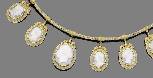 A 19th century shell cameo necklace