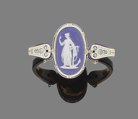 A 19th century wedgewood cameo, enamel and diamond hinged bangle