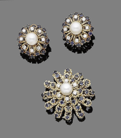 A sapphire, cultured pearl and diamond brooch and earclip suite (2)