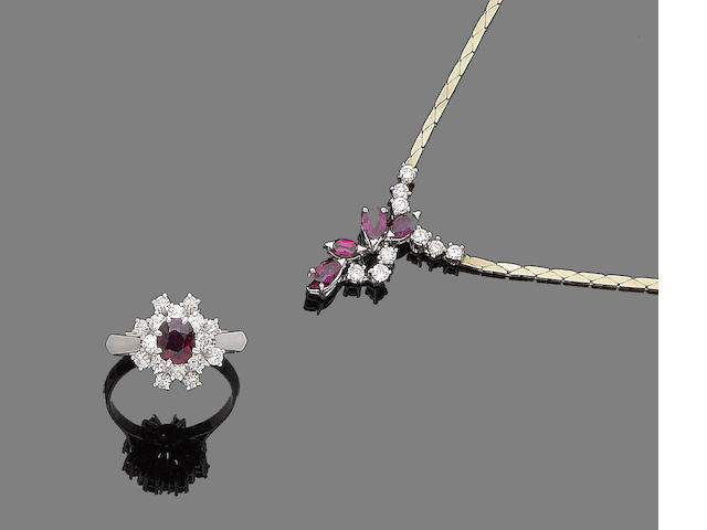 A ruby and diamond necklace and ring (2)