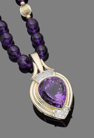 An amethyst and diamond pendant necklace (2)