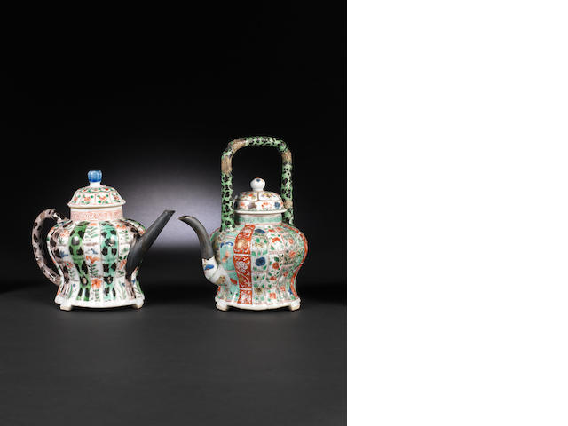 Two famille verte mellon-shaped teapot and covers Kangxi