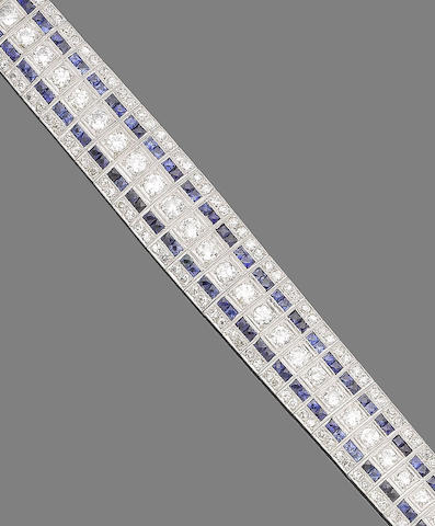A synthetic sapphire and diamond bracelet