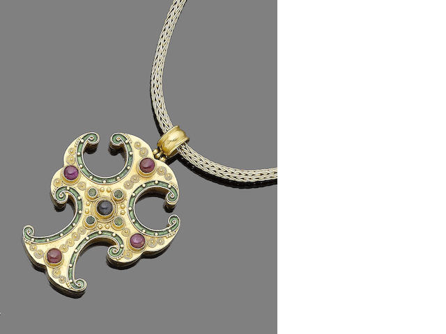 A necklace by Lalaounis and a gem-set cross pendant