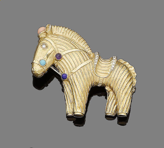 A gem-set horse brooch, by Van Cleef & Arpels
