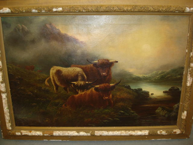 19th Century English School Highland cattle grazing at the waters edge,
