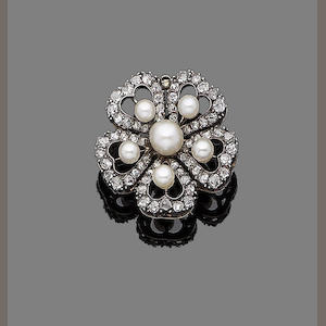 A late 19th century pearl and diamond pansy brooch/pendant