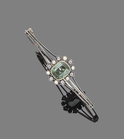 A tourmaline, seed pearl and diamond hinged bangle,