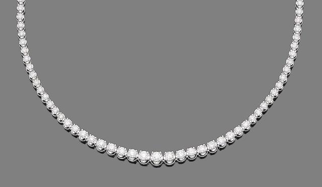 A diamond line necklace
