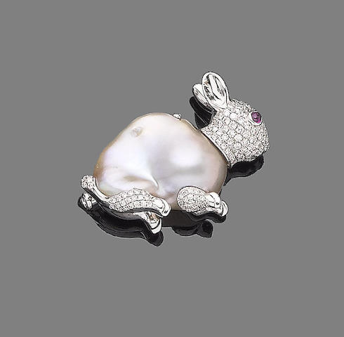 A baroque cultured pearl, ruby and diamond rabbit brooch
