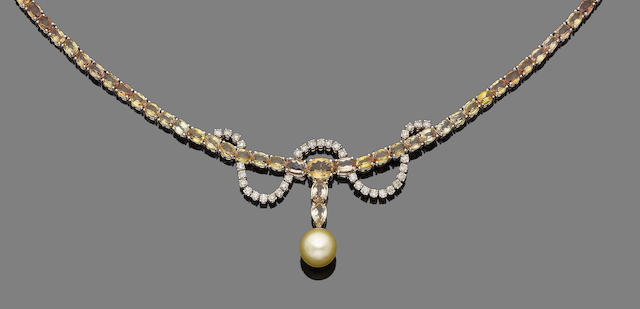 A yellow sapphire, cultured pearl and diamond necklace