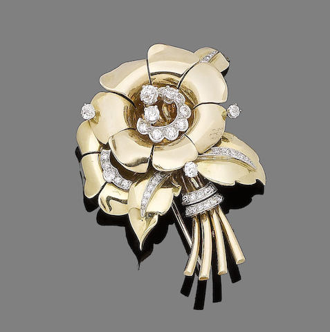 A diamond-set flower brooch, by Van Cleef & Arpels