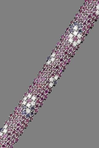 A ruby, sapphire and diamond bracelet