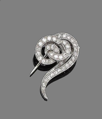 An early 20th century diamond clip brooch
