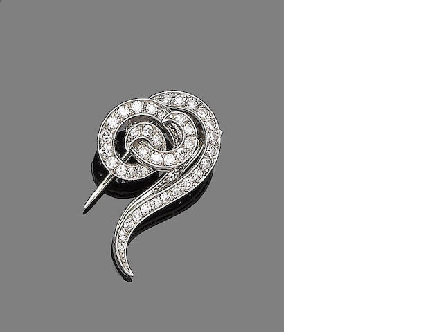 An early 20th century diamond clip brooch