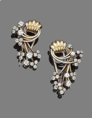 A pair of diamond-set clip brooches (2)