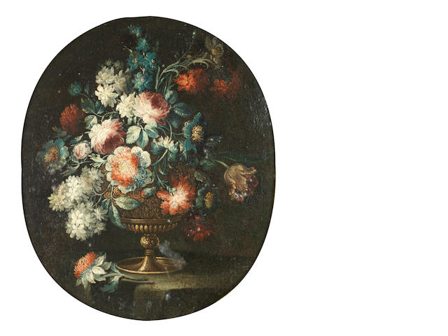 Circle of Elisabetta Marchioni (active Italy, 1740-1780) Peonies, jasmine, roses and other flowers in a bronze urn on a table top; 68 x 56cm (26 3/4 x 22 1/16in) and 68 x 57cm (26 3/4 x 22 7/16in).(2)