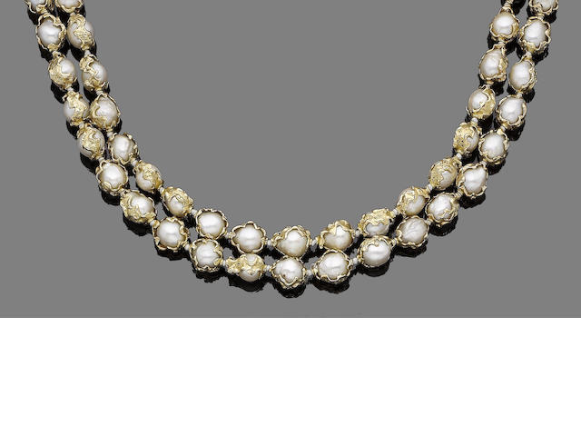 A gold and cultured pearl two-strand necklace,  by Charles de Temple,