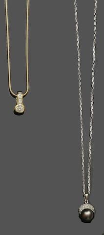 Boodles and Dunthorne: A diamond pendant and a diamond and cultured pearl pendant (2)