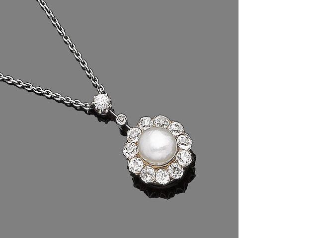 A late 19th century diamond and pearl pendant/brooch (2)